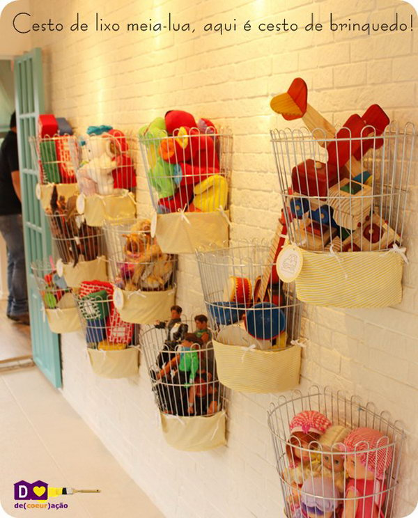 Organize Some Small Wire Baskets On The Wall. They can also served as the kids' home decor.