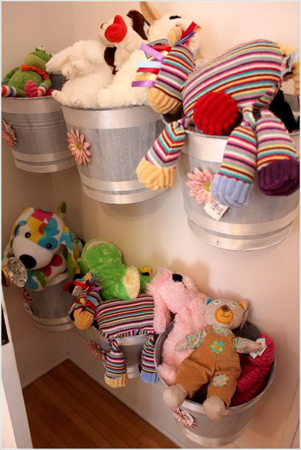 Wall Mounted Buckets Serve as Cute Storage for Stuffed Animals