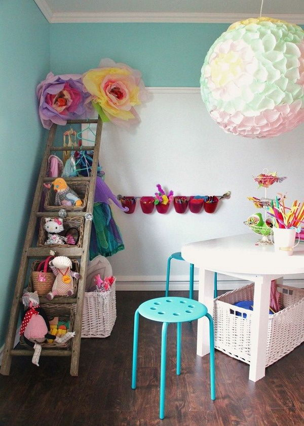 Reuse The Old Ladder As Stuffed Animal Storage. Love this one! So simple! Reuse the old ladder as stuffed animal storage and dress up clothes all in one!