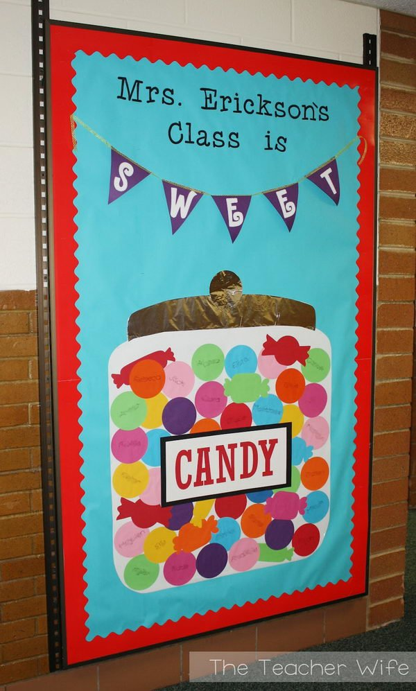 1 candy themed bulletin board