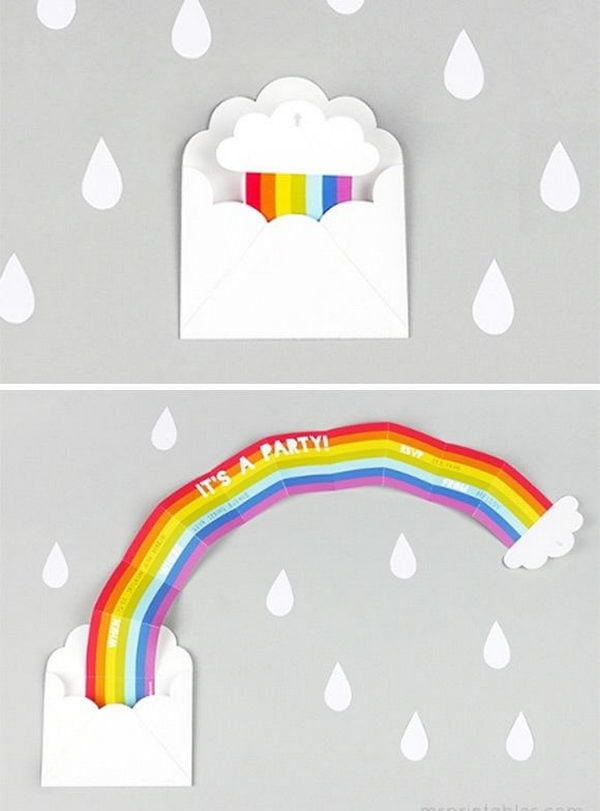 1 diy surprise rainbow party invitation