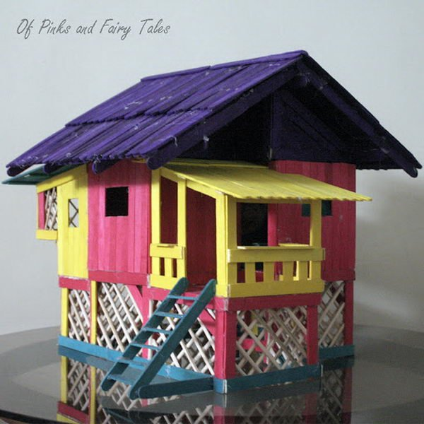 1 popsicle stick wooden play house
