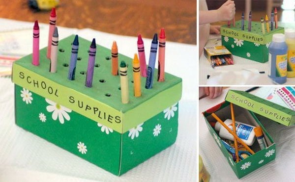 Diy ideas with recycled shoe box for Reuse shoe box ideas
