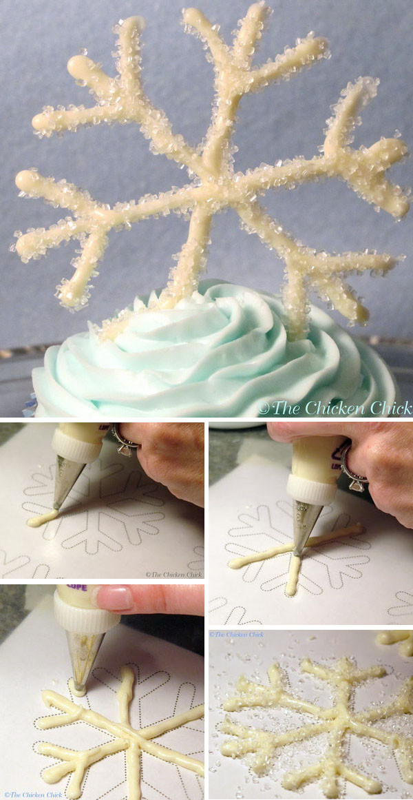 DIY Snowflake Cupcake. These white chocolate snowflakes are much easier to make than they may appear. It would be great for a frozen party!