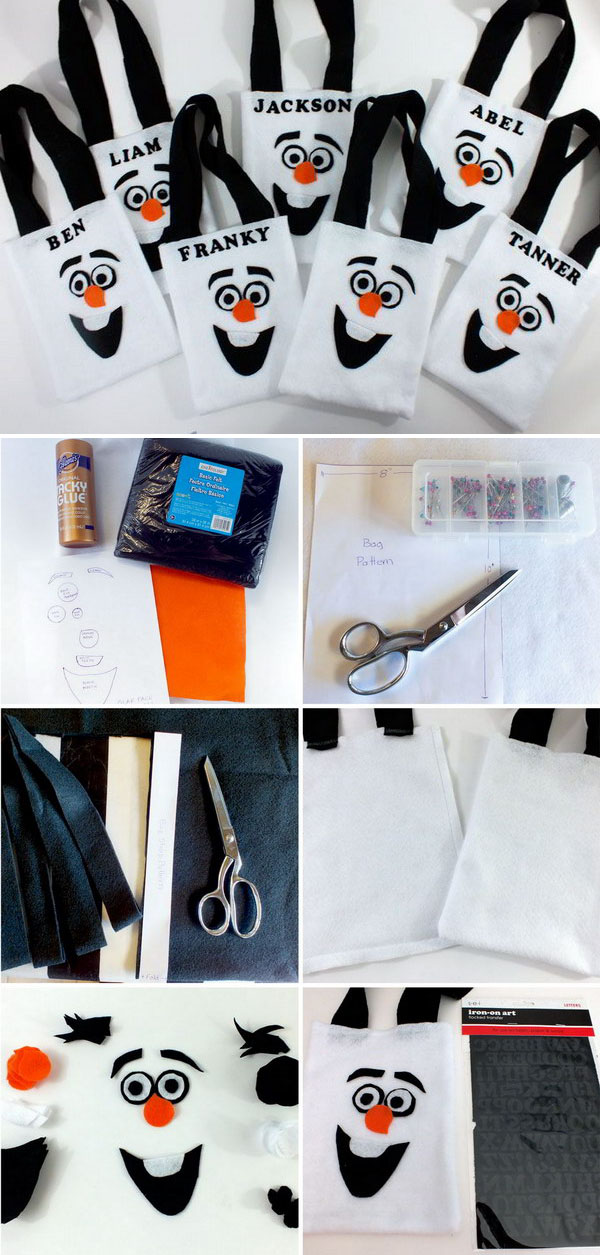 Disney Frozen Olaf Party Favor Bags. They are adorable, fun and so easy to make!