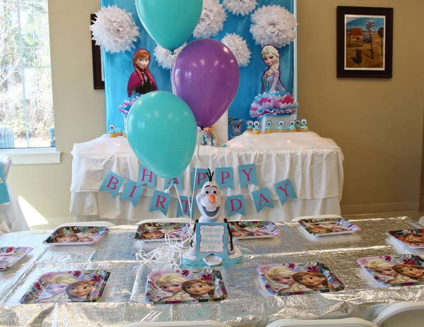 Dessert Table At A Frozen Birthday Party.