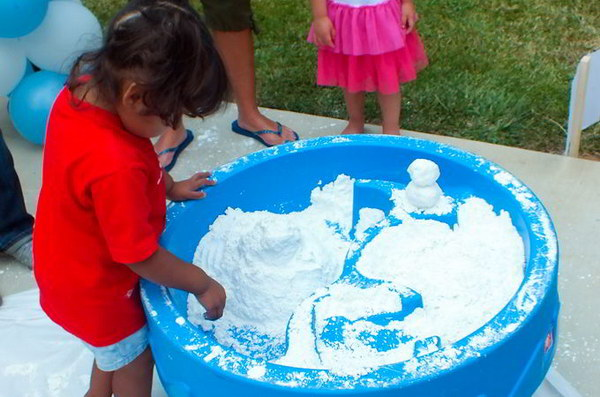 Disney Frozen DIY Play Snow. It's so easy to make and perfecy for a summertime Disney Frozen Party!