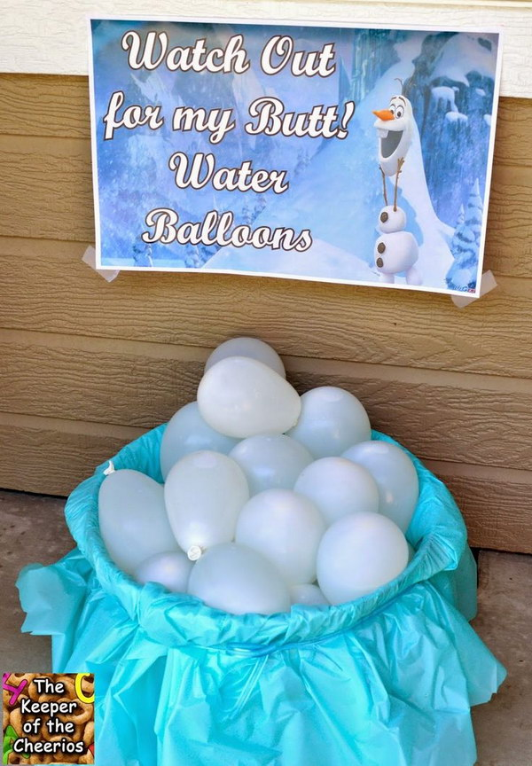 'Watch out for my Butt' Water Balloons. What a fun outside activity idea for your Frozen birthday party in summer time!