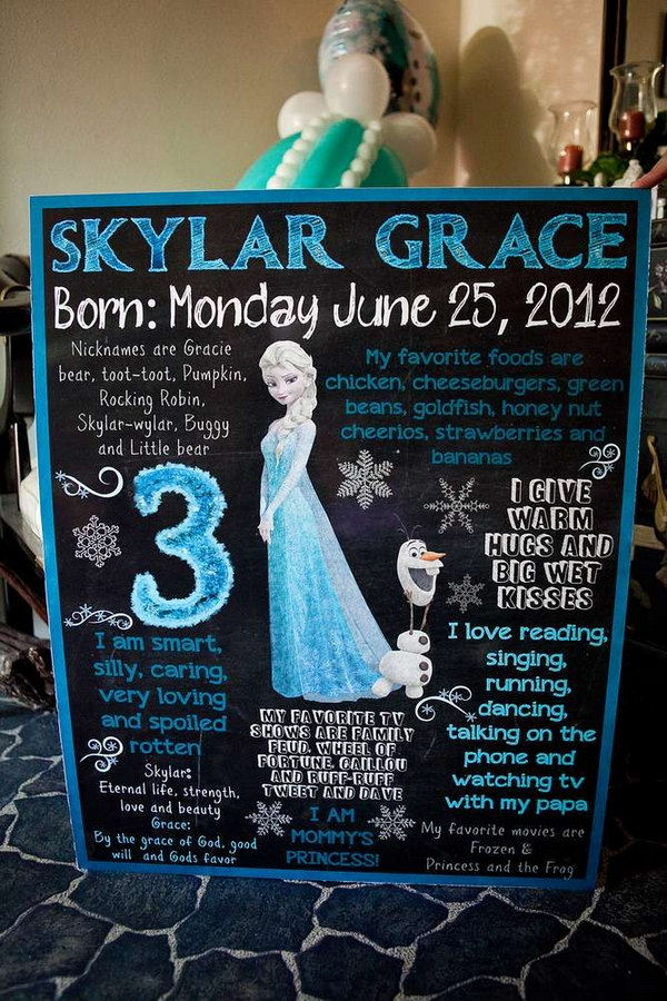 Welcome Sign at a Frozen Birthday Party. Cheap and so beautiful! This would be great for a girl's party.