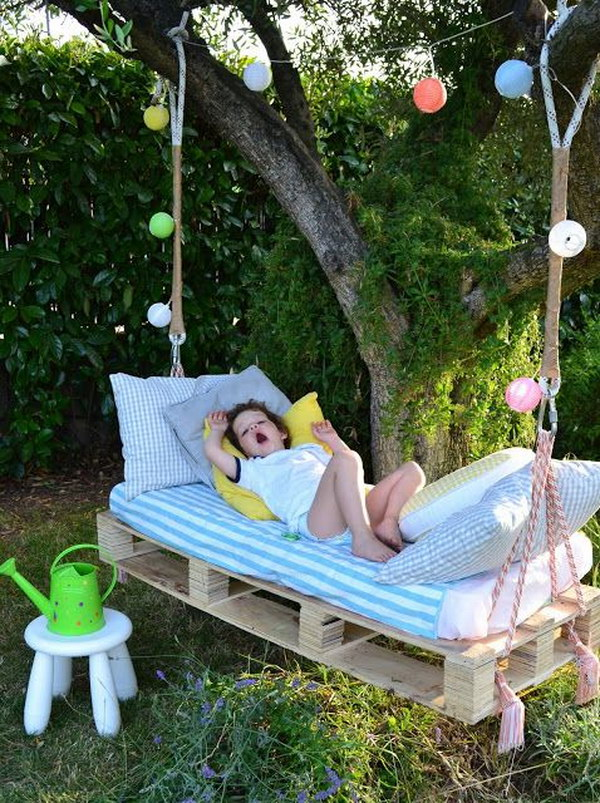 DIY Outdoor Hanging Bed for Kids.
