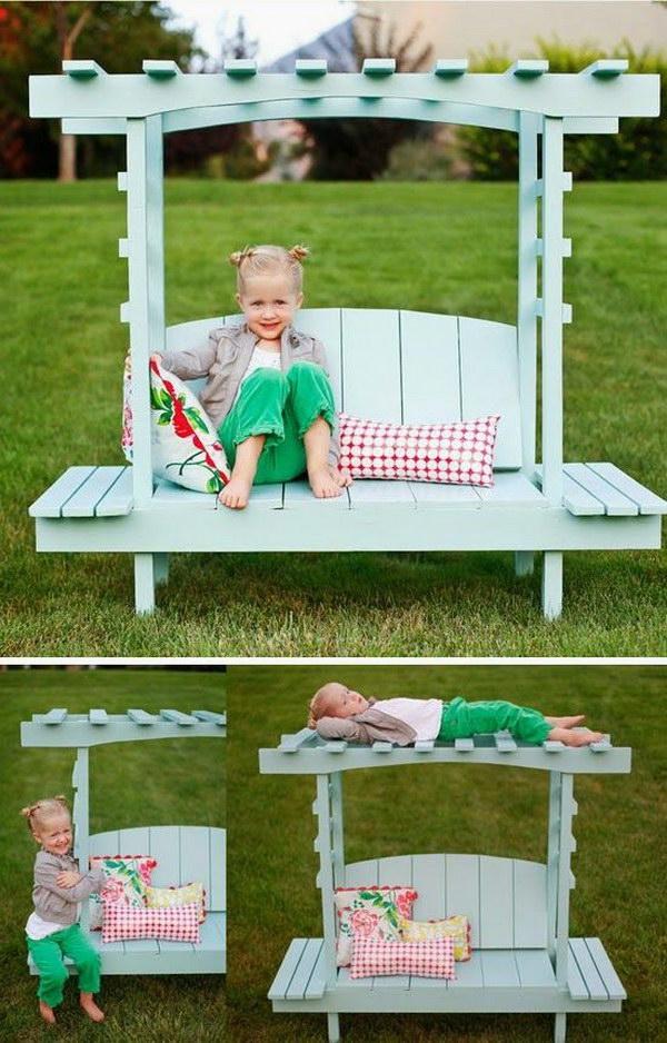 DIY Kids Arbor Bench.