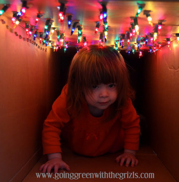 Lighted Tunnel Made out of a Cardboard Box