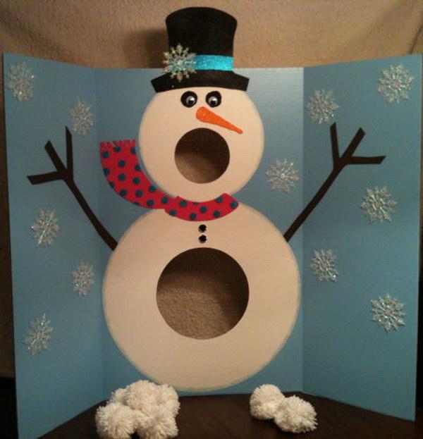 Snowman Pom Pom Toss
