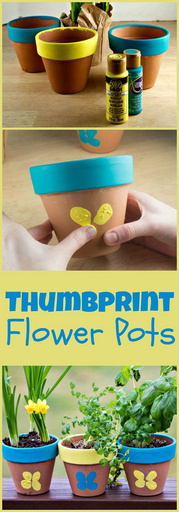 Thumbprint Flower Pots For Mom