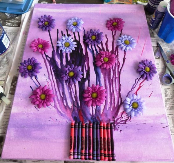 Flower Bouquet Melted Crayon Art