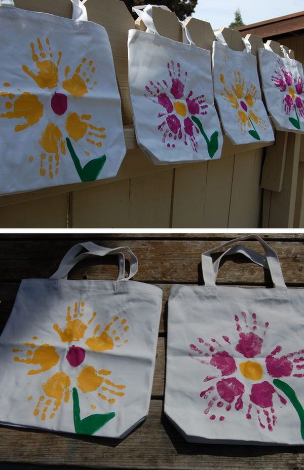 Easy DIY Handprint Flower Tote Bag