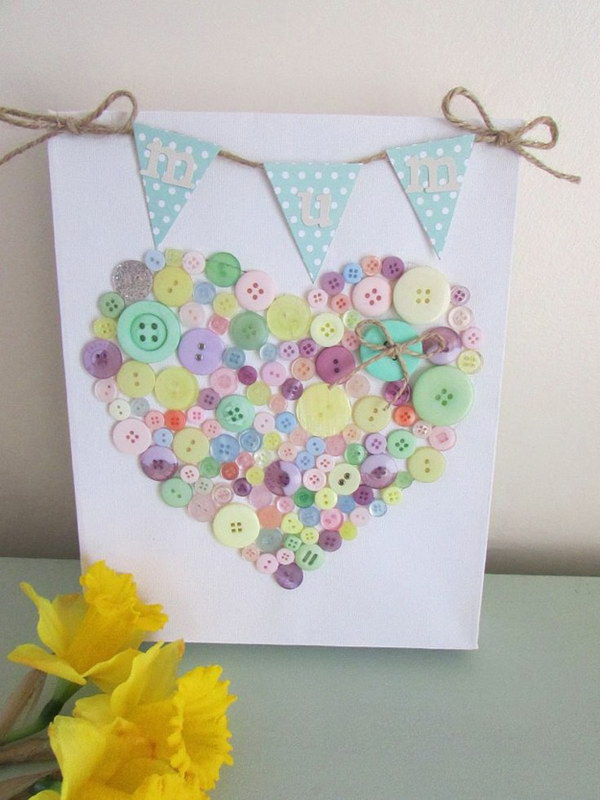 DIY Heart shaped Bunting and Button Canvas