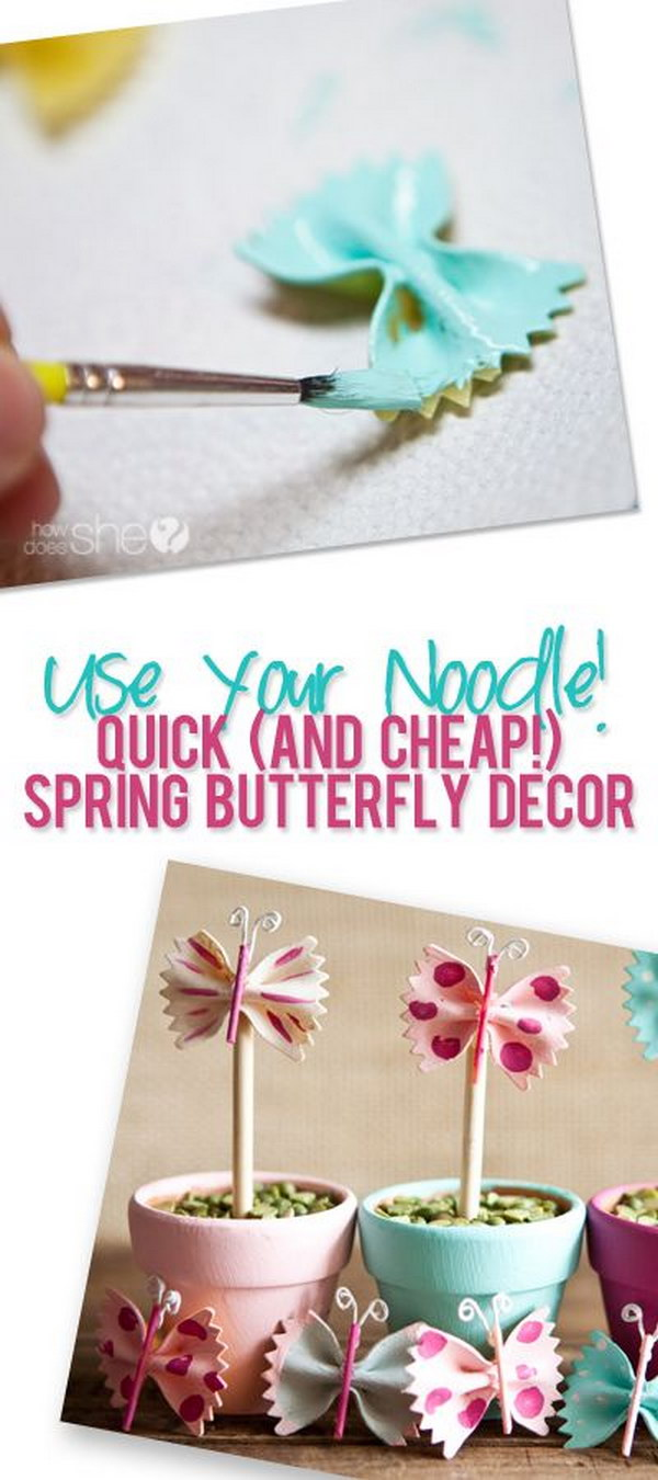 Cute Butterfly Decor From Bow Tie Pasta And Spaghetti Noodles