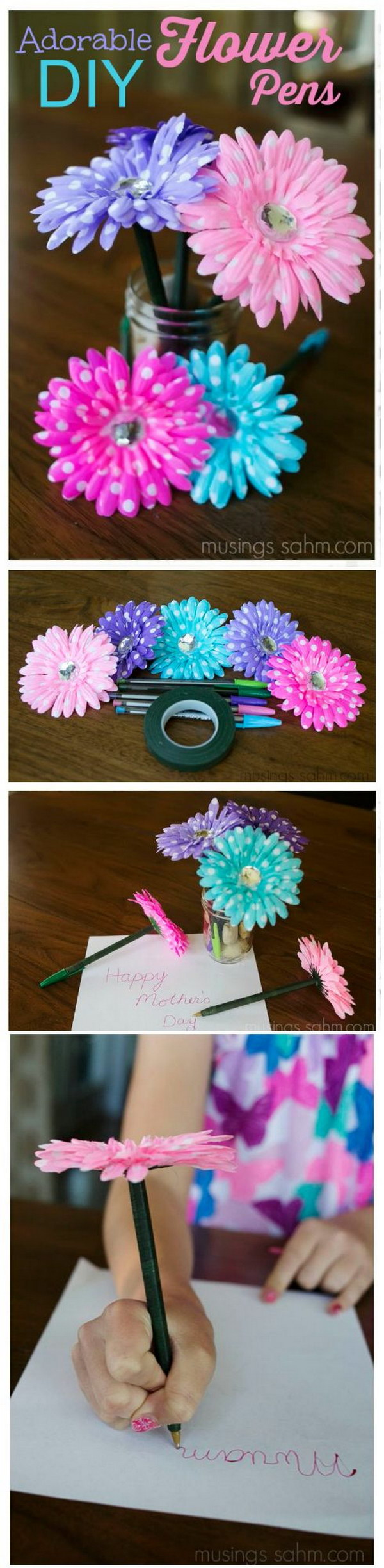 DIY Flower Pens For Mom
