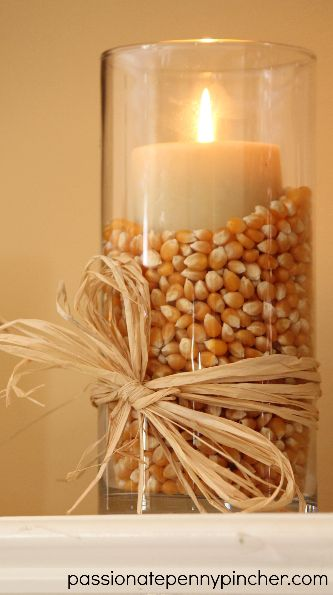 Popcorn filled Vases for Fall or Thanksgiving.