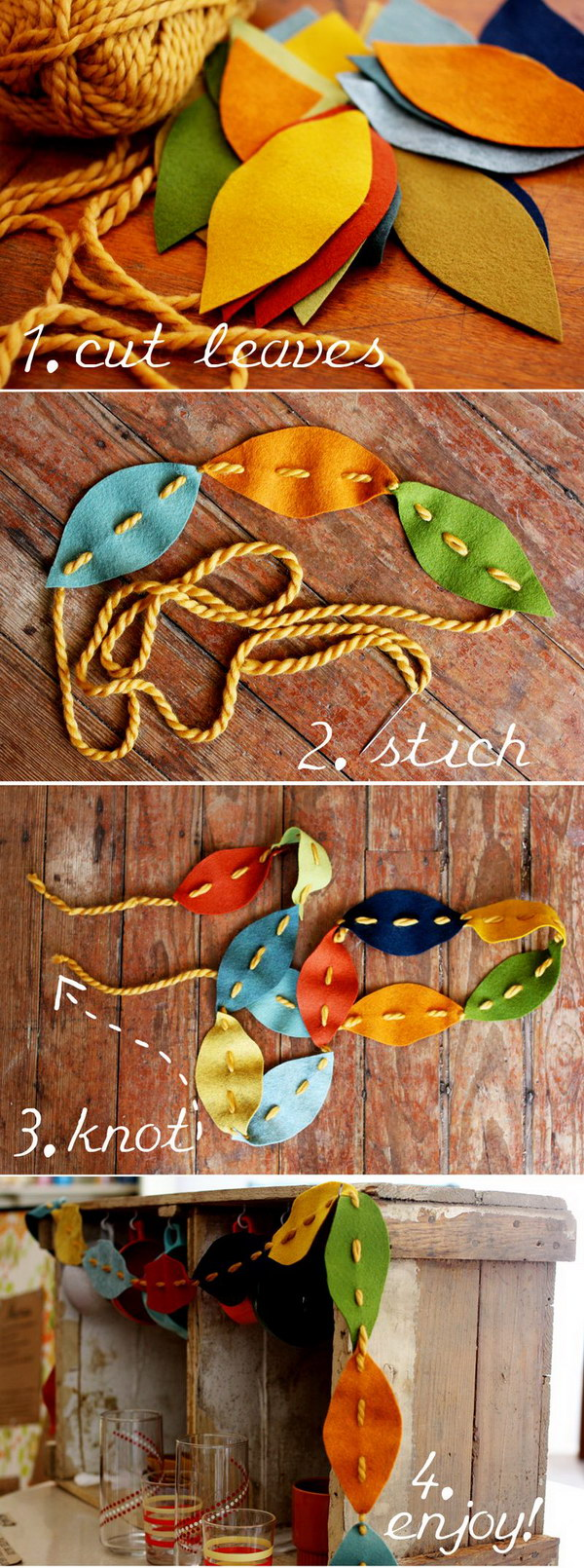 Felt Stitched Leaf Garland.