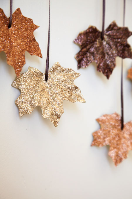DIY Glitter Leaf Garland.