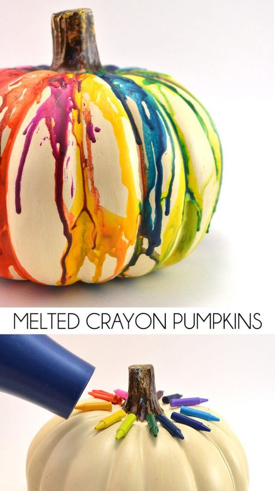 DIY Fall Halloween Melted Crayon Pumpkin.