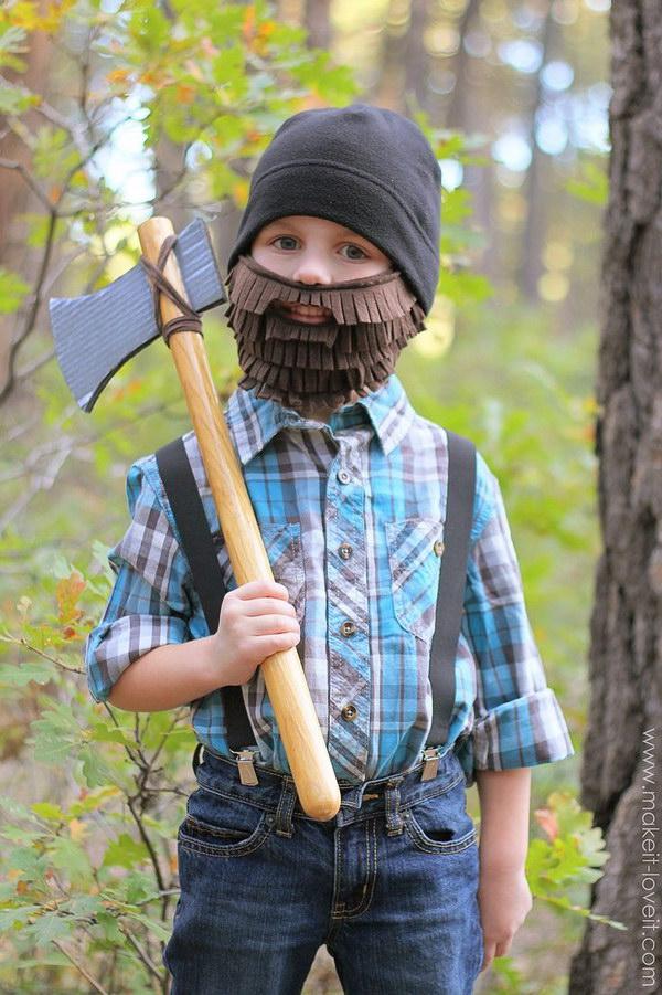 DIY Lumberjack Costume with Beard and Axe.