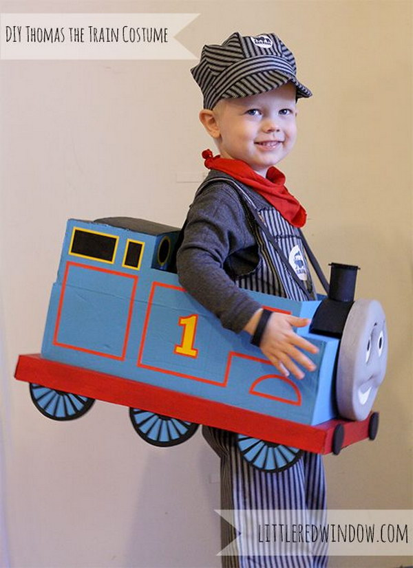 DIY Thomas the Train Halloween Costume.