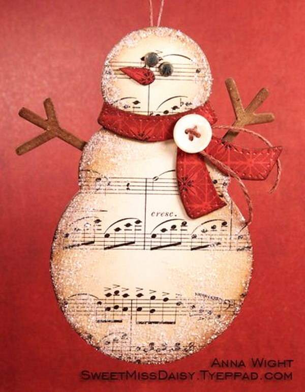 Music Paper Snowman DIY Christmas Card.