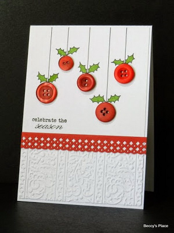 Button Ornament Christmas Card.