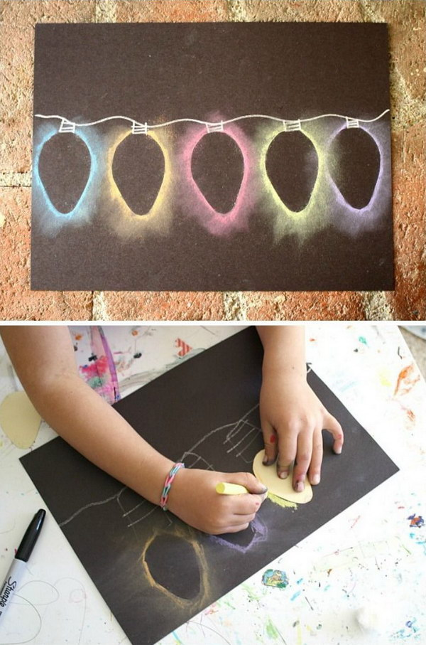 Light Chalk Stencil Art Christmas Card.