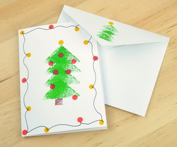 Sponge Stamped Christmas Tree Card.
