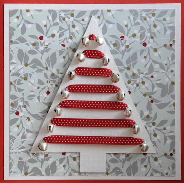 Jingle Bell Ornaments Christmas Tree Card.