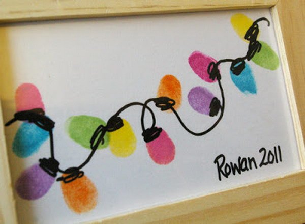 Thumb-Print String of Lights Christmas Card.