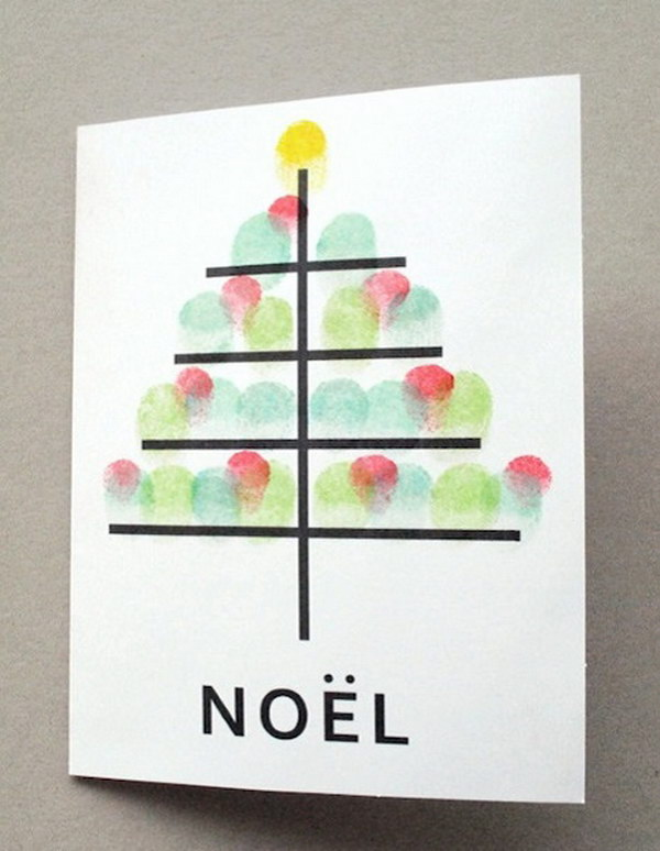 Fingerprint Christmas Tree DIY Card.
