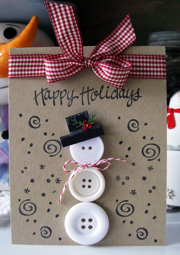 Button Snowman Christmas Card.