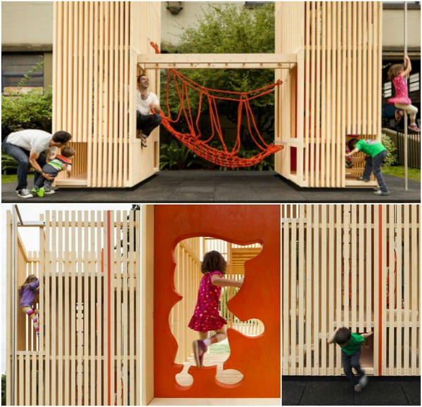 Twin Structured Playhouse With Many Play Opportunities.