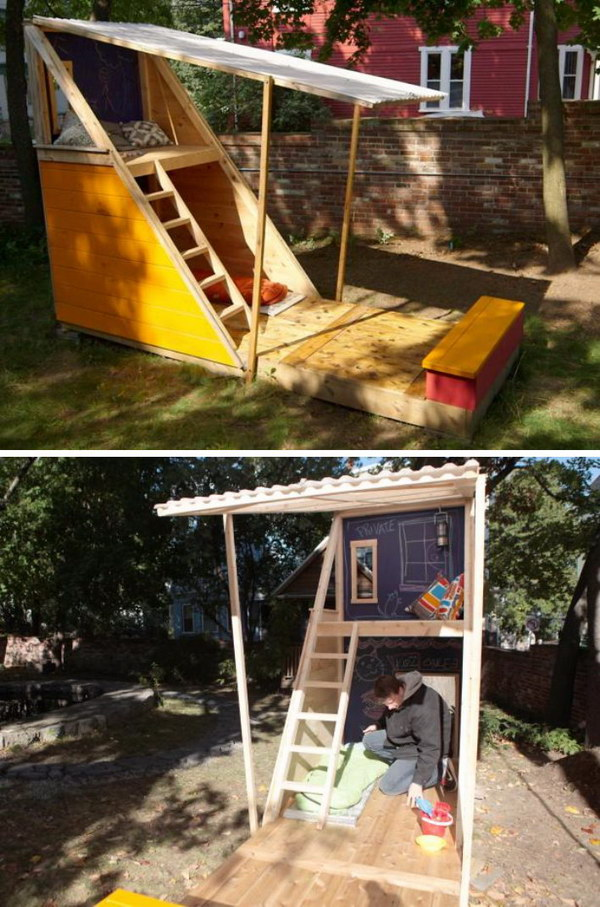 Fort-Style Backyard Playhouse With A Loft.