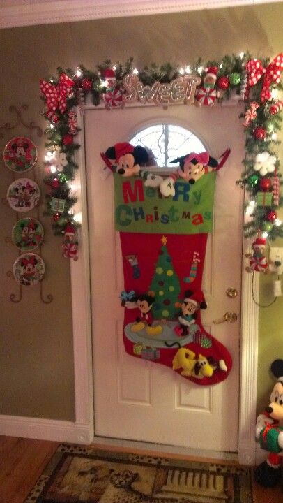 Mickey and Minnie Stocking Christmas Door Decoration.