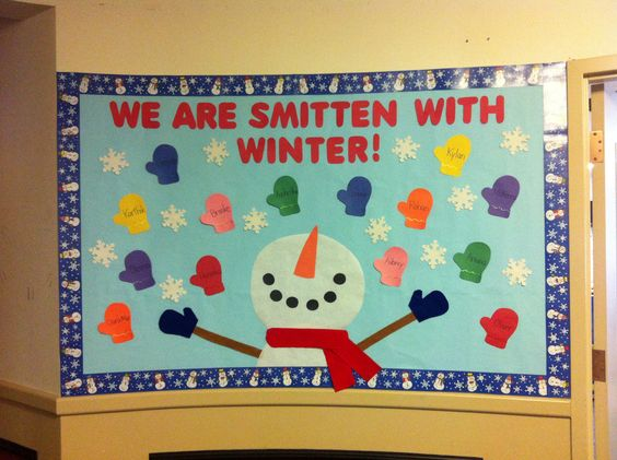 'We Are Smitten With Winter' Bulletin Board with The Children's Names on the Mittens.