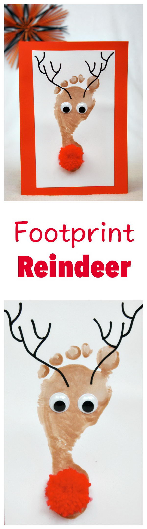 Super Easy And Cute Reindeer Footprint Christmas Cards.