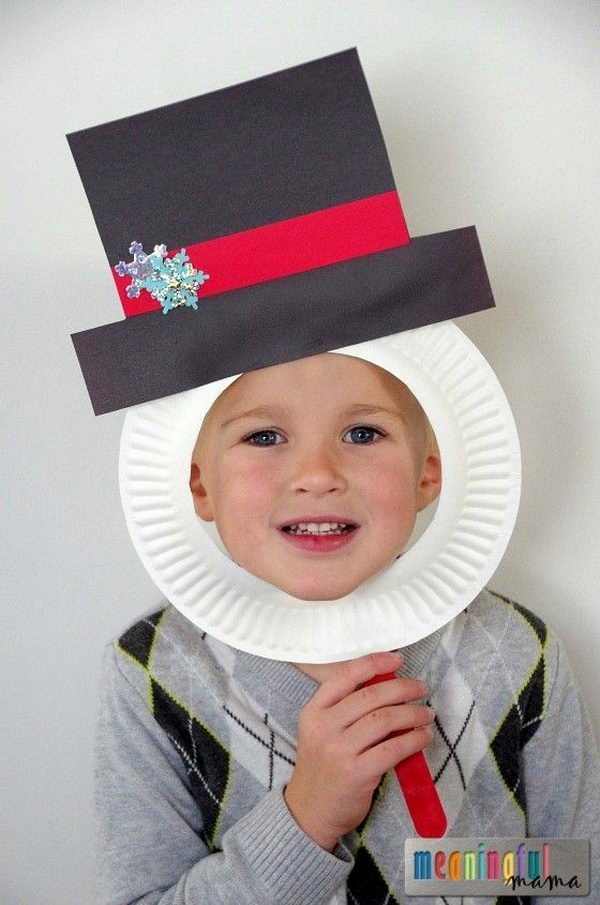 Snowman Paper Plate Masks That is Perfect for Holiday & Winter Photo Fun .