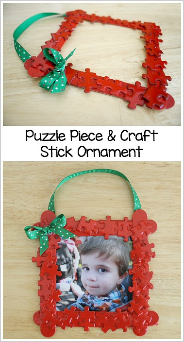 Puzzle Piece and Craft Stick Homemade Ornament Craft for Kids.