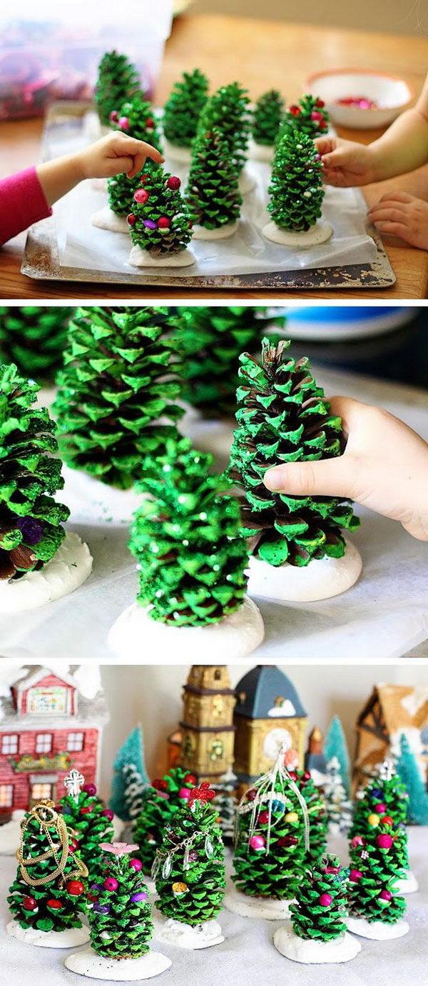 DIY Pine Cone Trees.