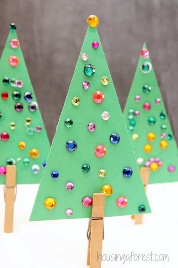 Jeweled Christmas Tree Craft for Kids.