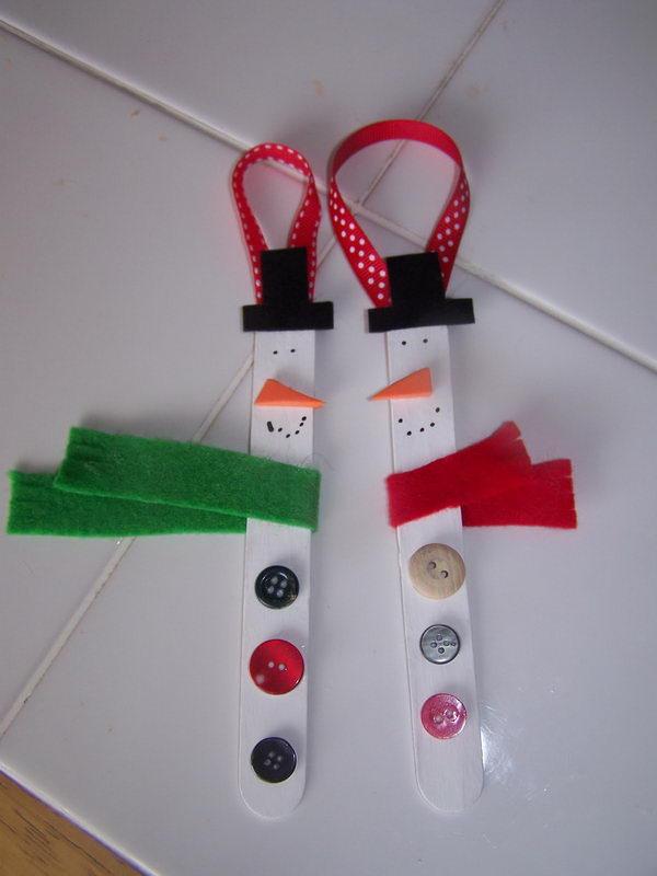 Popsicle Stick Snowman.