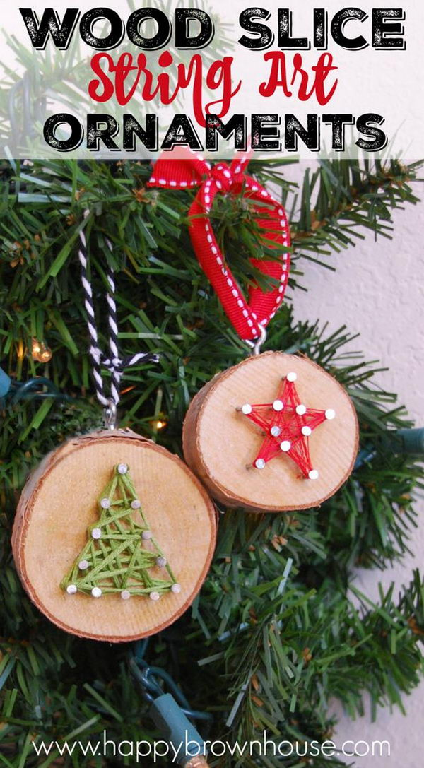 Wood Slice String Art Ornament.
