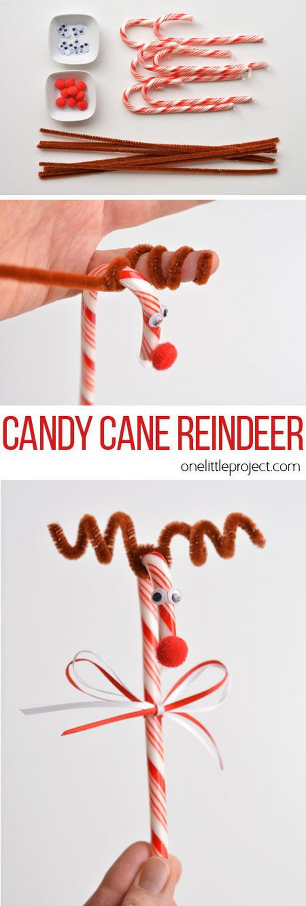 Make A Candy Cane Reindeer With Your Kids.