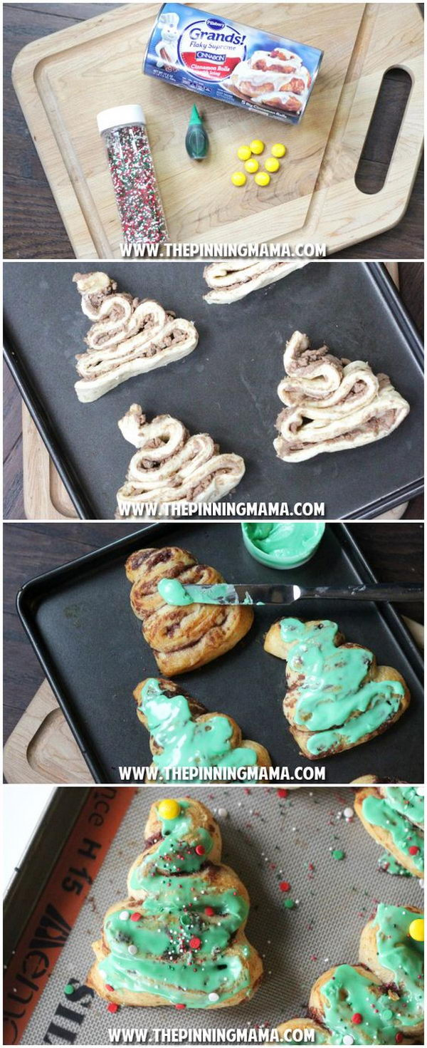 Easy Cinnamon Roll Christmas Trees That Are Perfect For The Kids To Help With.